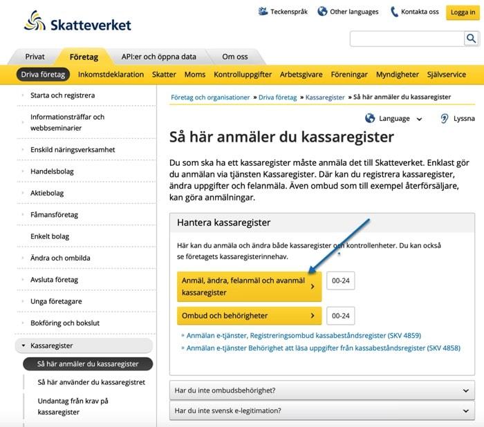 Inloggning till Skatteverket för registrering av Kassasystem